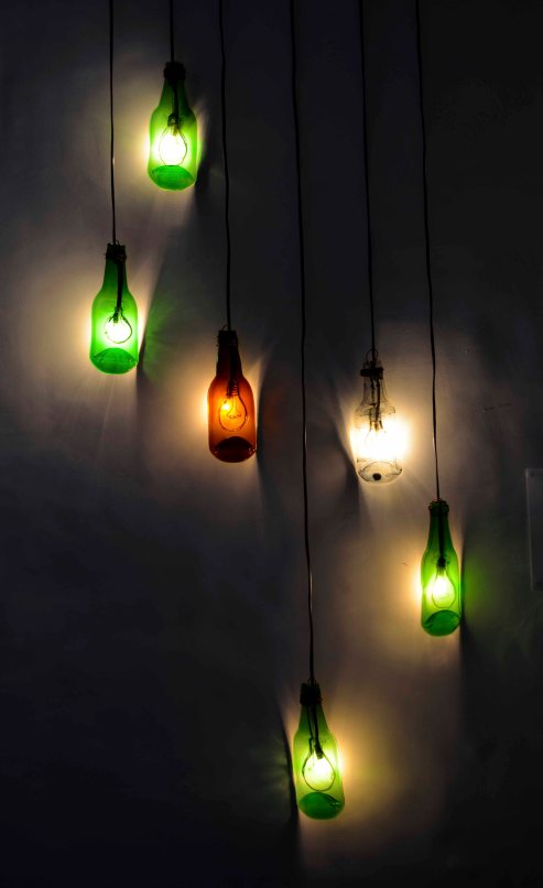 flattened bottle lamps INR 2000 each