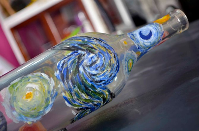 Tribute to Van Gogh. Kiln-formed Glass.