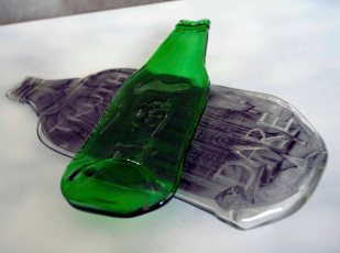 Kiln-formed, up-cycled bottles.